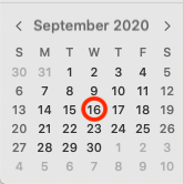 Calendar page with September 16, 2020 circled/